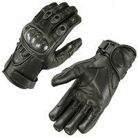 Motorradhandschuhe Leder Motorrad Handschuhe kurz schwarz Gr. M L XL 2XL