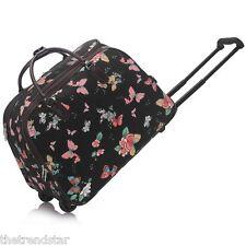 Ladies Travel Bags Holdall Hand Luggage Women's Weekend Handbag Wheeled Trolley Black Butterfly S3