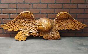 "VTG Hand Carved Solid Wood Eagle Decorative Wall Hanging  45"" Veteran, Patriotic"