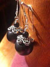 Shungite earrings Bead (5.5g) 12mm Agate karelia protection healing chakra Reiki