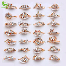 10pcs Wholesale Lots Jewelry Women Fashion Clear Rhinestones Gold Rings