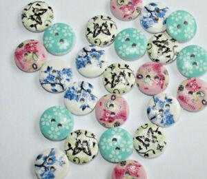 Wooden Mix Craft Buttons, Flat Round 15mm, 24 Pieces
