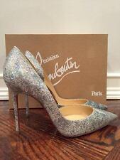 NIB Christian Louboutin Iriza 100 Glitter Solaria Gold D'Orsay Heel Pump 39.5