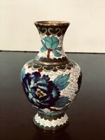 "Antique Vintage Chinese Cloisonne Vases Pair of two (2) 5"" Tall Each"