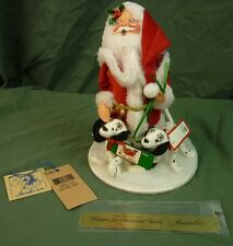 """Annalee Dolls 10"""" Puppies for Christmas - Santa 1996 5391 Signed Plaque AL613"""