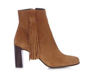 Karen Millen Tassel Leather Heeled Ankle Boot Suede Smart Dress Shoes 4 37