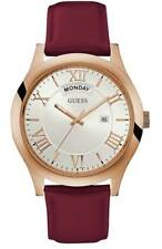 Guess Men's U0792G10 Burgundy Leather White Dial Day/Date Rose Gold Watch
