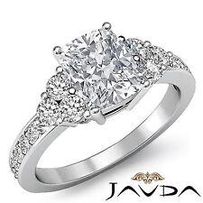 Cushion Diamond Three Stone Pave Engagement Ring GIA I SI1 14k White Gold 1.5 ct