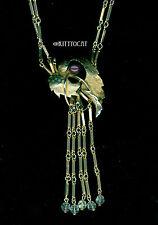 Gold Bar Link Necklace With AB Fringe Grape Leaf Made with Swarovski Pearl Grape