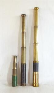 THREE ANTIQUE 19TH CENTURY BRASS TELESCOPES