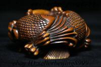 Old Chinese Boxwood Wood Carving Fish Pot Jug Tank Wine Earthen Jar Bowl Statue