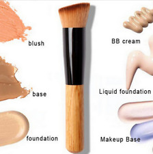 Makeup Brush Tool Flat Angled Wooden Liquid Foundation Powder Contour Bronzer UK