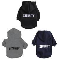SECURITY Puppy Pet Hoodie Coat Dog Clothe Gray Black XS S M L Small Medium Large