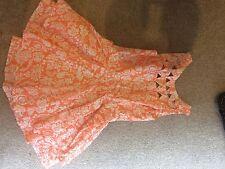 Orange and white cocktail dressy dress size 10 Angel Biba