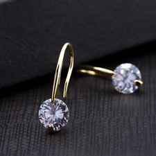 Earrings Solid 9ct Gold Filled Diamond Hook Drop Style Mother Gift 25 mm Wedding