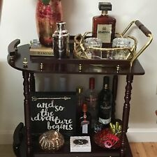 Bar Serving Cart Accent Rolling Wine Drink Storage Tray Trolley Beverage Holder