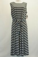 Charter Club Womens Dress Printed Belted Fit Midi Dress Black Blue White XL $89