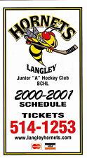 2000-01 LANGLEY HORNETS BCHL HOCKEY POCKET SCHEDULE