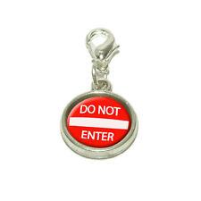 Do Not Enter Basic Red Round Sign Dangling Bracelet Pendant Charm