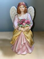 VINTAGE HOMCO Home Interiors Porcelain Angel With Roses Basket Figurine #8806