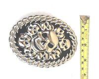 Vintage Belt Buckle SILVER MEN WOMEN Skull Biker BUCKLE Silver VALENTINES GIFT