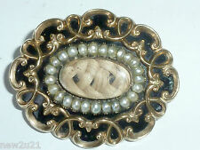 Victorian 9ct Gold Pearl Black Enamel mourning Brooch Locket Pendant