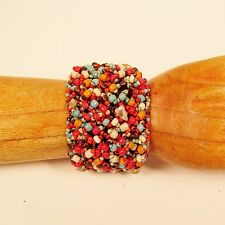 """7"""" Red Turquoise Multi Color Woven Stone Chip Handmade Seed Bead Cuff Bracelet"""