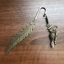Feifeicicada Antiqued Gold Tone Tucan Feather Bookmark