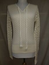 See by Chloe Sweater Sz S Pullover Ivory Crochet Loose Knit V-Neck Sheer Lace