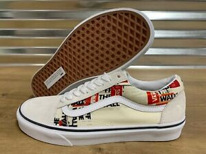 Vans Old Skool Skate Shoes Packing Tape Blanc De Blanc Red SZ 9 ( VN0A4U3BWN4 )