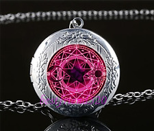 Pentagram Cabochon Glass Tibet Silver Chain Locket Pendant Necklace#A19