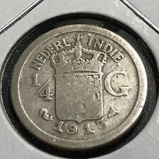 1913 NETHERLANDS EAST INDIES  SILVER 1/4 GULDEN BETTER DATE