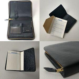 Vintage Black Leather Writing Desk Travel Address Note Book Case Mid- Century