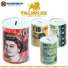 Pound Notes £ Design Money Coin Box Tin Savings Kids Cash Piggy Bank Charity UK