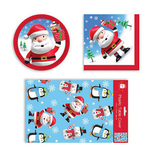 Childrens Christmas Penguin Santa Disposable Party Set Napkin Plate Tablecover