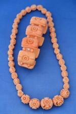 VINTAGE Deco Intagliato celluloide faux corallo Graduato Collana E Bracciale