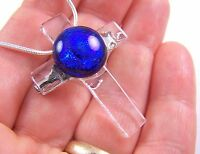 CROSS PIN PENDANT Dichroic Fused Glass Cobalt Sapphire Blue on Clear Cathedral