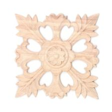 1X Rubber Wood Carved Floral Decal Craft Onlay Applique Furniture Diy Decor