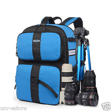 Multifunctional Blue Camera Bag Large Photography Backpack for Canon DSLR SLR