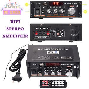 Digital Stereo Verstärker Bluetooth HiFi Audio Power Amplifier FM SD 12V  Mini