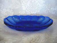Collectible Vintage Cobalt Blue Pressed Glass Banana Split / Ice Cream Bowl/Dish