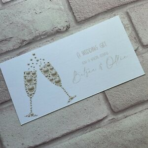 Personalised Handmade Money/Voucher/Gift Card Wallet WEDDING DAY Bubbles