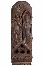 India 20. JH. madera relief-an Indian Wood relief Radha & Krishna-en bois india