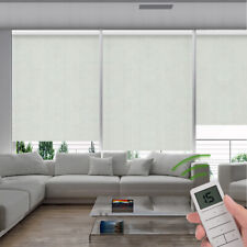 Fireproof Blackout Remote Control Motorized Window Roller Shade Blind Light Grey