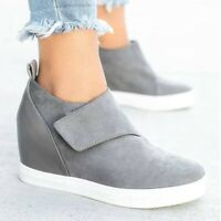 US Womens Hidden Wedge Low Shoes Ankle Zip Boots Platform Sneakers High Top