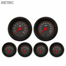 6 Gauge Set Speedo Tacho Oil Temp Fuel Volt Omega Black Red LED Metric Blk