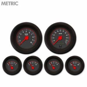 6 Gauge Set Speedo Tacho Oil Temp Fuel Volt Omega Black Red LED Metric Blk