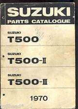 1970 SUZUKI T500 / T500-II / T500-III MOTORCYCLE PARTS MANUAL / FACTORY ORIGINAL