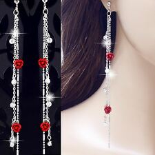 "#E125H 5.4"" long non-pierced CLIP ON EARRINGS Dangle Rose Crystal Tassel Women"