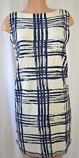BALENCIAGA  Knit Sleeveless Navy Blue/White Geometric/Checked Dress 40